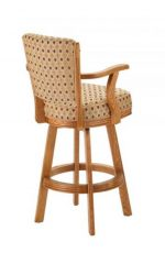 Darafeev's #610 Wooden Upholstered Swivel Bar Stool with Arms in Honey Oak Finish - Back View