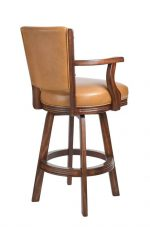 Darafeev's #600 Upholstered Swivel Wood Stool with Arms in Tobacco Oak Finish - View of Back