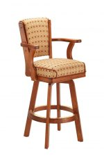 Darafeev's #910 Wooden Upholstered Swivel Bar Stool with Arms in Cinnamon Cherry Wood Finish