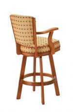 Darafeev's #910 Wooden Upholstered Swivel Bar Stool with Arms in Cinnamon Cherry Wood Finish - View of Back