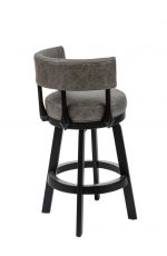 Darafeev's Ace Wooden Modern Swivel Bar Stool with Low Back in Gray and Black - View of Upholstered Back