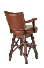 Darafeev's El Dorado II Upholstered Swivel Bar Stool with Multiple Upholsteries on Back Cushion - View of Back