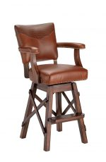 Darafeev's El Dorado II Upholstered Swivel Bar Stool with Multiple Upholsteries on Back Cushion