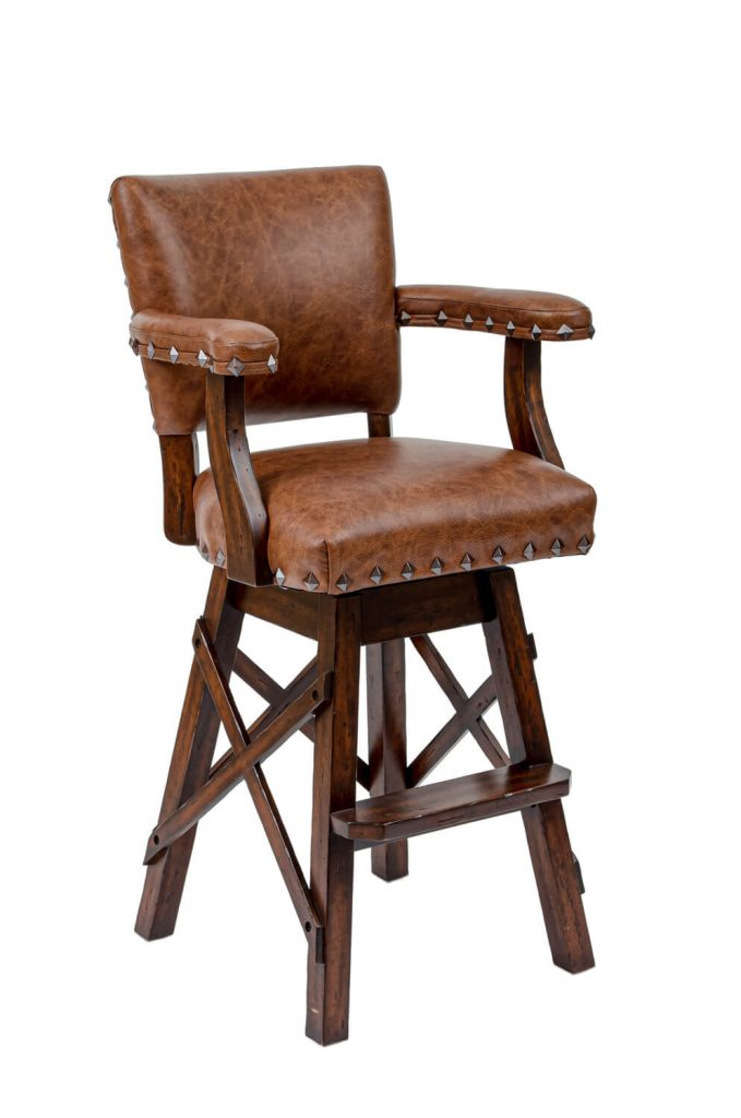 Darafeev's El Dorado Upholstered Swivel Rustic Bar Stool with Arms, Nailhead Trim, and Cross X Base
