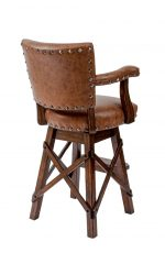 Darafeev's El Dorado Upholstered Swivel Rustic Bar Stool with Arms, Nailhead Trim, and Cross X Base - View of Back