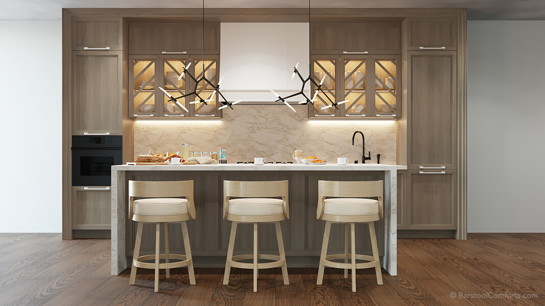 Darafeev's Gen Swivel Low Back Round Bar Stools in Modern Kitchen with Hardwood Floors and Waterfall Island