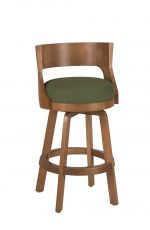 Darafeev's Gen Swivel Wooden Bar Stool with Low Back, Seat Cushion in Green, and Brown Wood