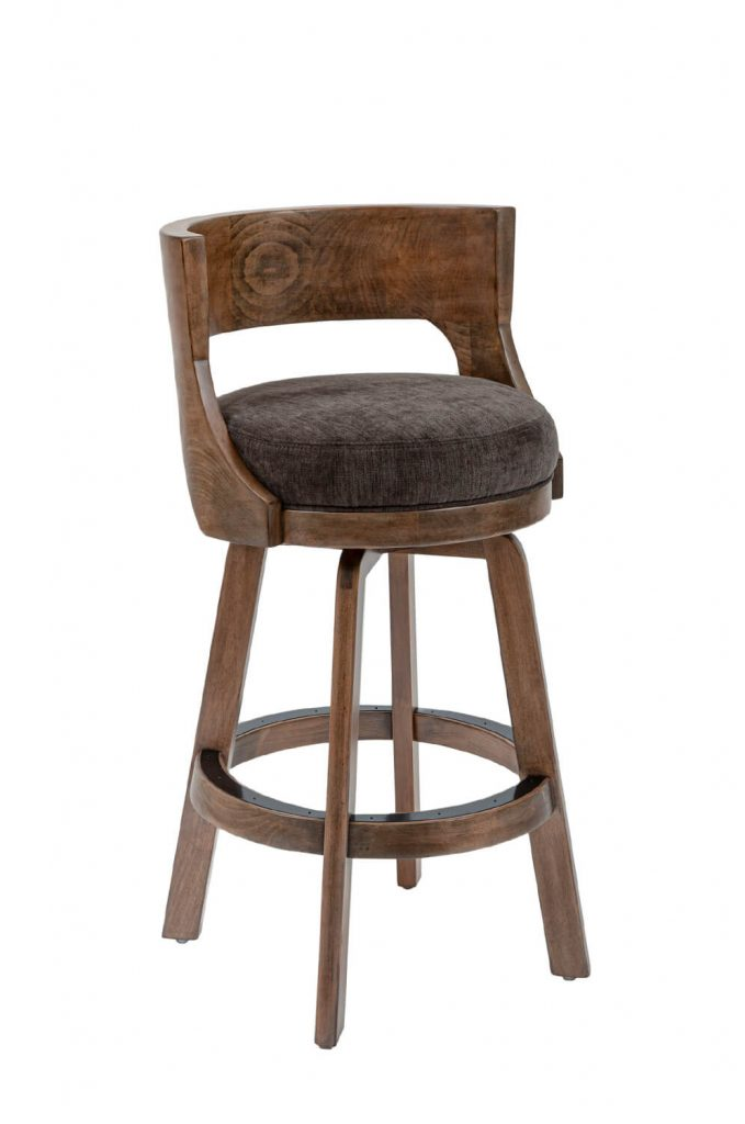 Darafeev's Gen Wood Upholstered Swivel Bar Stool with Low Back in Rustic Pewter