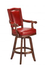 Darafeev's Marsala Upholstered Wood Swivel Bar Stool with Arms and Red Padding