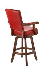 Darafeev's Marsala Upholstered Wood Swivel Bar Stool with Arms and Red Padding - View of Back