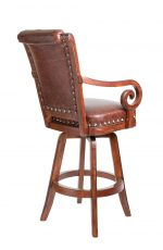 Darafeev's Pizarro Wood Upholstered Swivel Bar Stool with Arms, Nailhead Trim, and Button-Tufted Back - View of Back