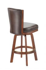 Darafeev's #915 Flexback Upholstered Swivel Wooden Stool with Back in Brown Finish - View of Back