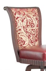 Darafeev's Bellagio Flex Back Swivel Padded Stool in Red - Close Up of Wood Details