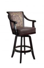 Darafeev's Bellagio Luxury Swivel Upholstered Wooden Bar Stool with Arms