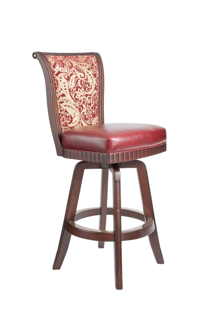 Darafeev's Bellagio Wood Upholstered Swivel Stool with Flex Back in Luxurious Red
