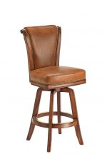 Darafeev's Classic Flexback Upholstered Swivel Wooden Bar Stool in Oak Wood and Leather Upholstery