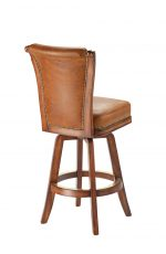 Darafeev's Classic Flexback Upholstered Swivel Wooden Bar Stool in Oak Wood and Leather Upholstery - View of Back
