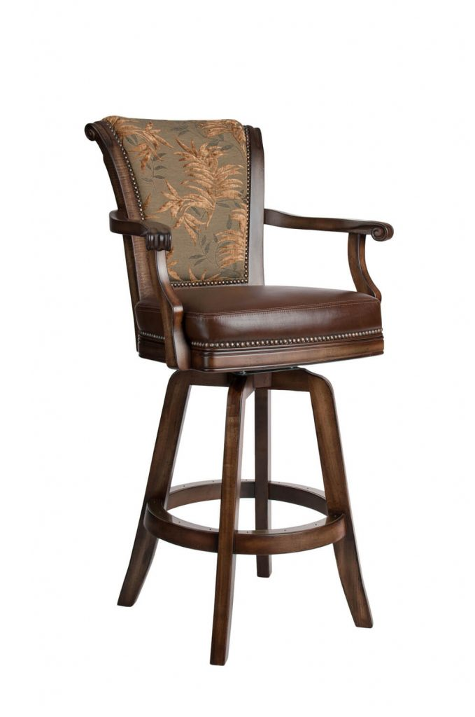 Darafeev's Classic Upholstered Swivel Wood Bar Stool with Arms and Nailhead Trim
