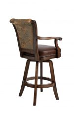 Darafeev's Classic Upholstered Swivel Wood Bar Stool with Arms and Nailhead Trim - View of Back