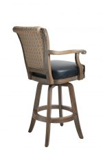Darafeev's Classic Wooden Upholstered Swivel Bar Stool with Arms and Nailhead Trim - View of Back
