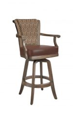 Darafeev's Classic Wooden Upholstered Swivel Bar Stool with Arms, Nailhead Trim, and Patterned Fabric on Back