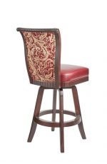 Darafeev's Bellagio Wood Upholstered Swivel Stool with Flex Back in Luxurious Red - View of Back