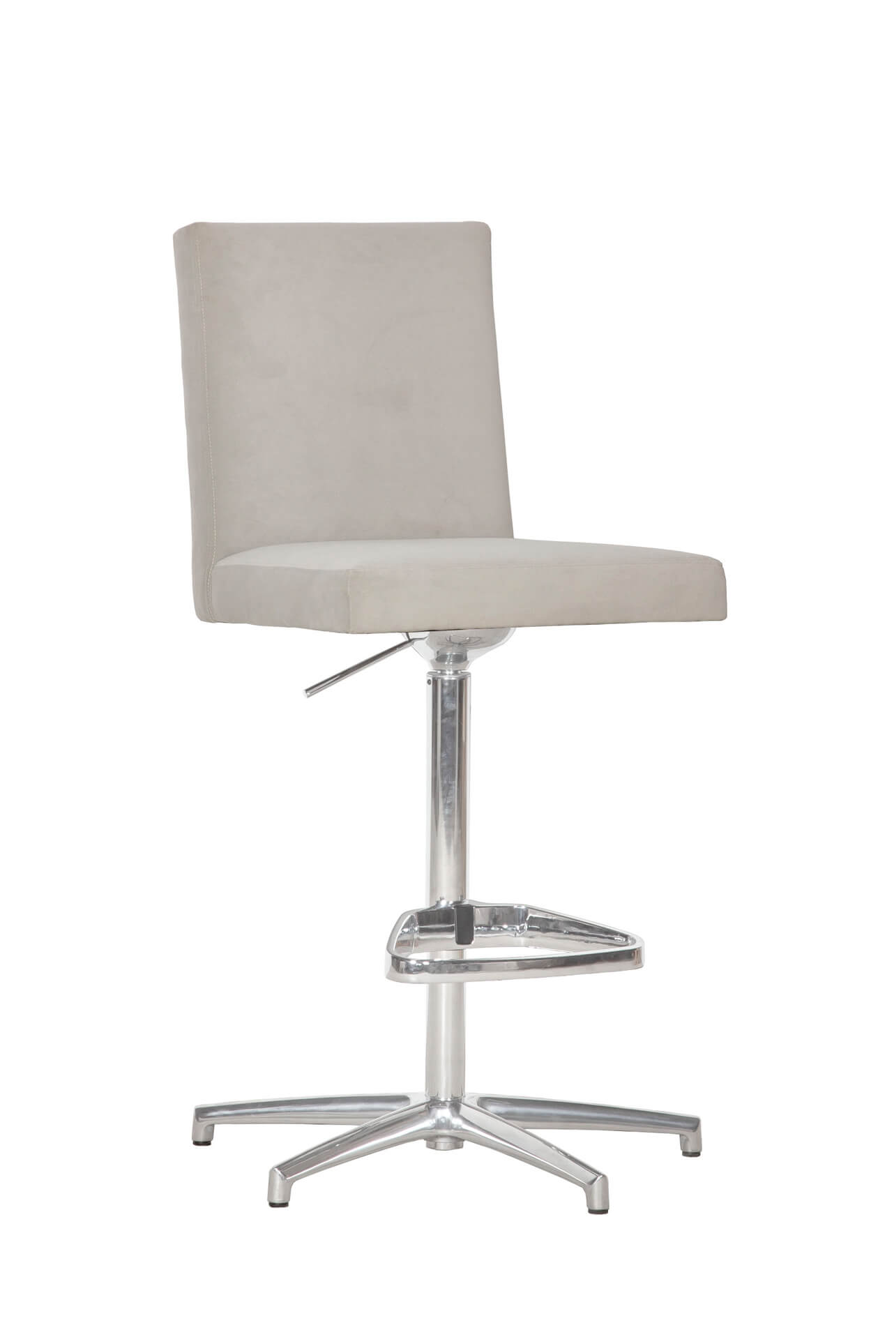 Fairfield's Uma Adjustable Bar Stool Upholstered Back with Nailhead Trim in Nickel Metal Finish