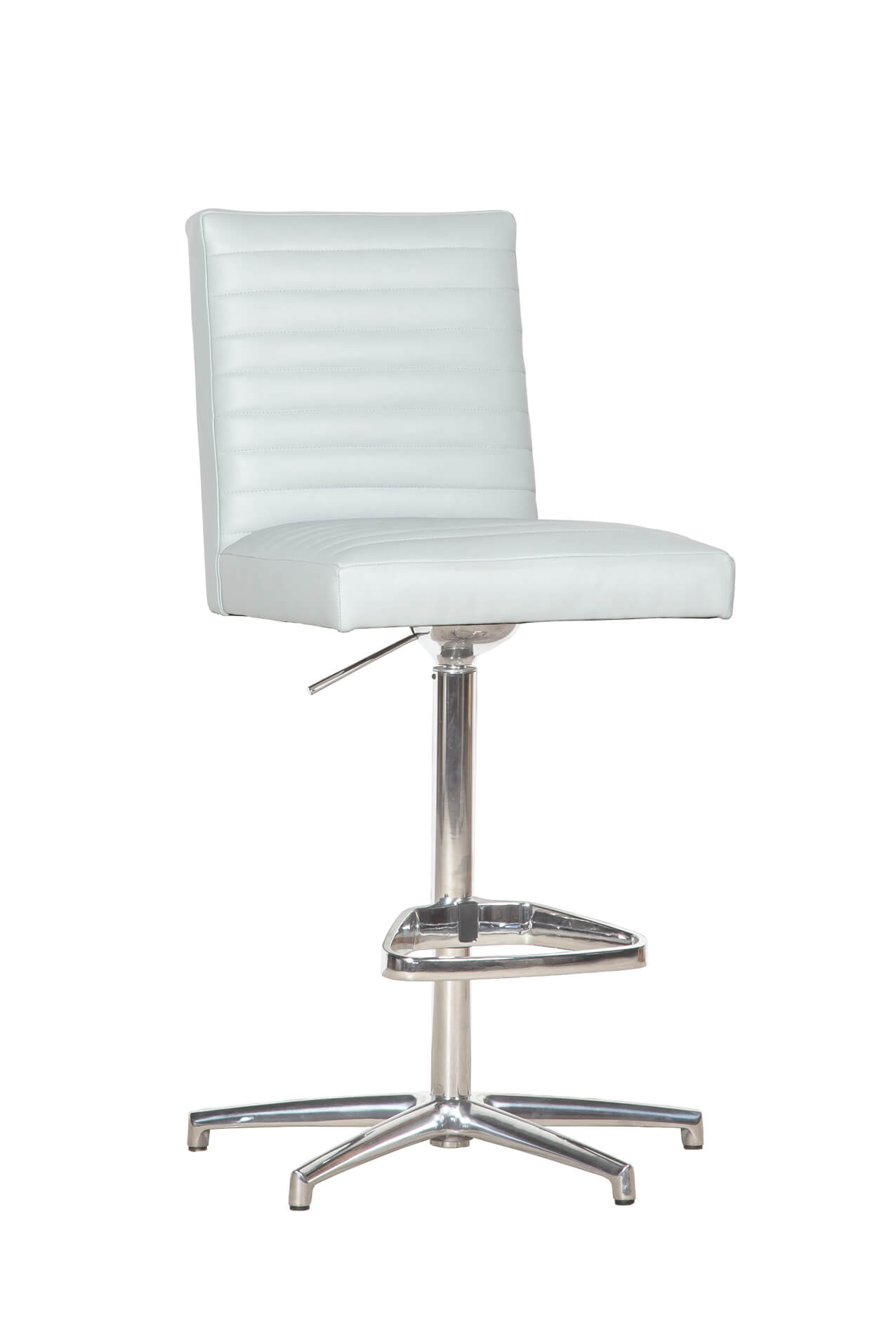 Fairfield's Uma II Adjustable Bar Stool Channel Upholstered Back in Nickel Metal Finish