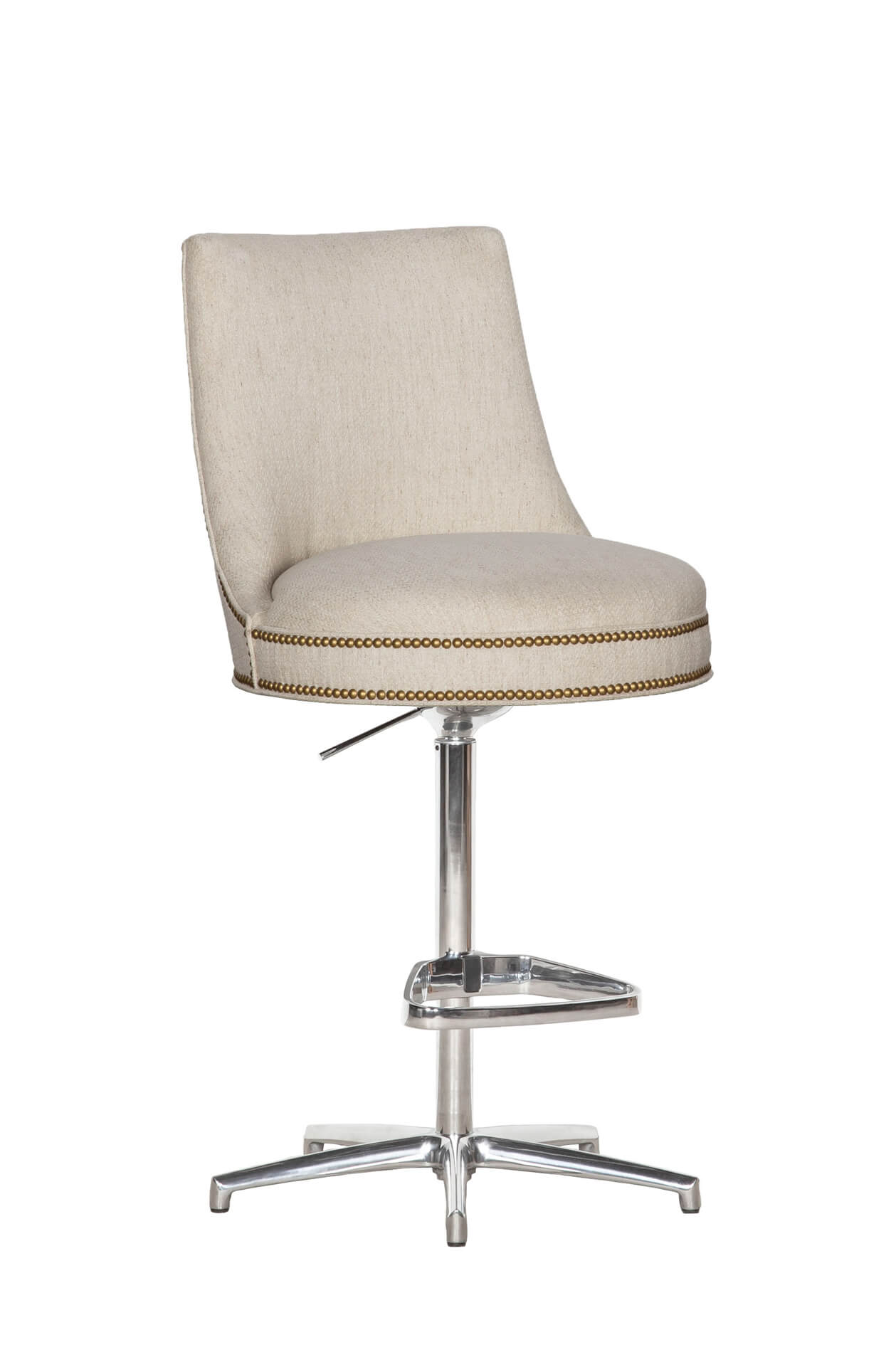 Fairfield's Vesper Adjustable Swivel Bar Stool Upholstered Back with Nailhead Trim in Nickel Metal Finish