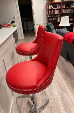 Fairfield's Vesper Modern Swivel Adjustable Height Bar Stools in Red and Nickel in Kitchen
