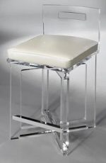 Muniz's Candy Acrylic Bar Stool with Low Back and Seat Cushion and X-Base and Chrome Footrest