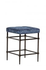 Fairfield's Jessup Backless Counter Stool with Square Seat Cushion in Blue and Black Metal Base