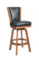 Darafeev's 615 Oak Upholstered Swivel Bar Stool with Back in Leather