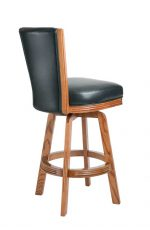 Darafeev's 615 Oak Upholstered Swivel Bar Stool with Back in Leather - View of Back