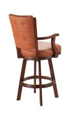 Darafeev's 960 Wood Upholstered Swivel Bar Stool with High Back, Arms, and Button-Tufting on Back - View of Back
