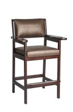 Darafeev's #977 Stationary Wood Arm Bar Stool with Cup Holder and Billiard Pool Cue Holder