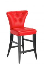 Darafeev's Bourbon Flexback Stationary Modern Bar Stool in Espresso Wood Finish and Red Seat/Back Cushion