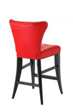 Darafeev's Bourbon Flexback Stationary Modern Bar Stool in Espresso Wood Finish and Red Seat/Back Cushion - View of Back