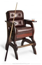 Darafeev's Mann Sports Theater Bar Chair with Arms and Upholstered Back and Seat with Billiard Cue Holders
