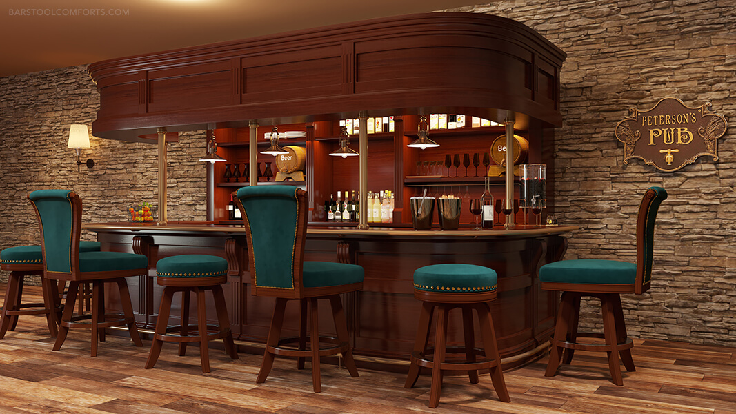 Darafeev's Milano Backless Swivel Bar Stools in Cherry Wood in Home Bar / Basement Pub