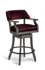 Darafeev's Patriot Luxury Gray Wood Swivel Bar Stool with Arms and Red Wine Leather