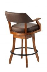 Darafeev's Patriot Wood Upholstered Swivel Bar Stool with Arms - View of Back