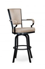 Lisa Furniture's #2045 Swivel Bar Stool with Arms in Black and Tan