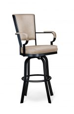 Lisa Furniture's #2545 Tilt Swivel Bar Stool with Arms in Black and Tan