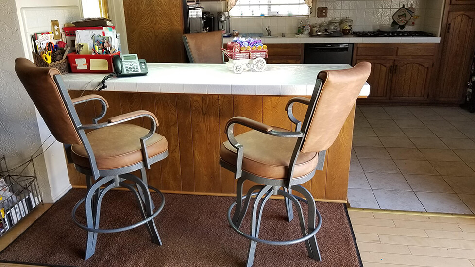 Lisa Furniture's #2545 Tilt Swivel Counter Stools in Gray Metal and Brown Seat and Back Cushion - Shown in Kitchen