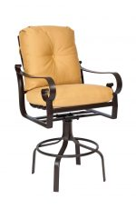 Woodard's Belden Cushion Outdoor Swivel Counter Stool with Arms and Metal Frame