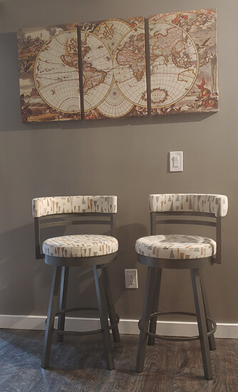 Amisco's Ronny Swivel Counter Stools in Gray Metal and Arrowhead Fabric