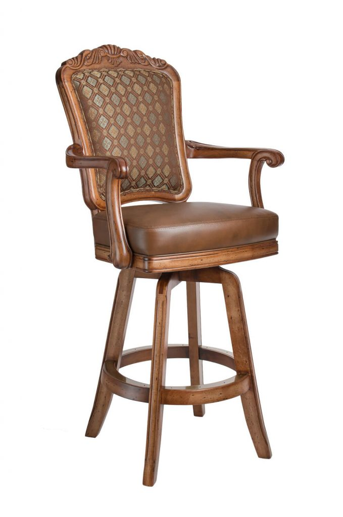 Darafeev's Centurion Wood Upholstered Swivel Bar Stool with Arms