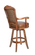 Darafeev's Centurion Wood Upholstered Swivel Bar Stool with Arms - View of Back