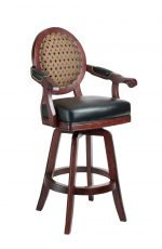 Darafeev's Chantal Wood Bar Stool with Padded Nailhead Trim Arms, Oval Round Back, and Seat Cushion